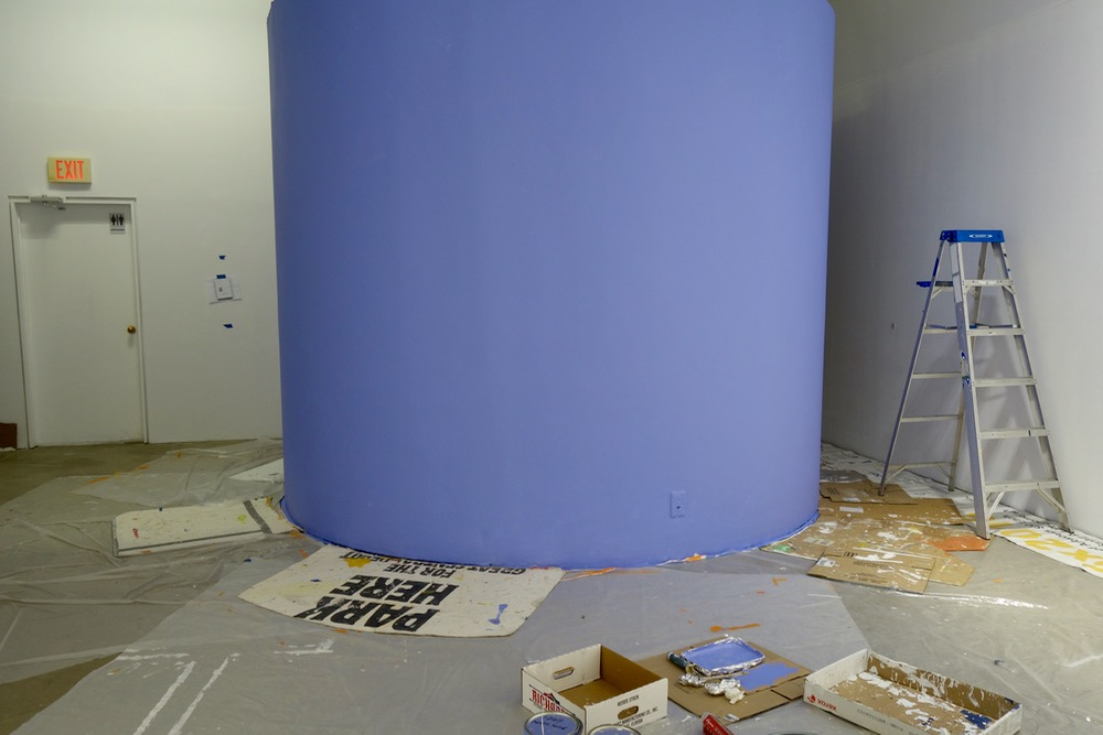 Purple round wall at Rochester Contemporary for Witness show of Leo Dodd and Paul Dodd paintings and drawings.