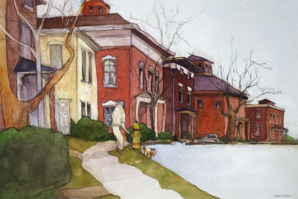 Leo Dodd painting of Corn Hill in Rochester, New York