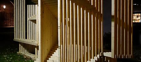"Matthias Neumann ""Double Bench""  outside at Rochester Contemporary"