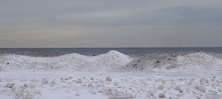 Frozen Lake Ontario shoreline in January