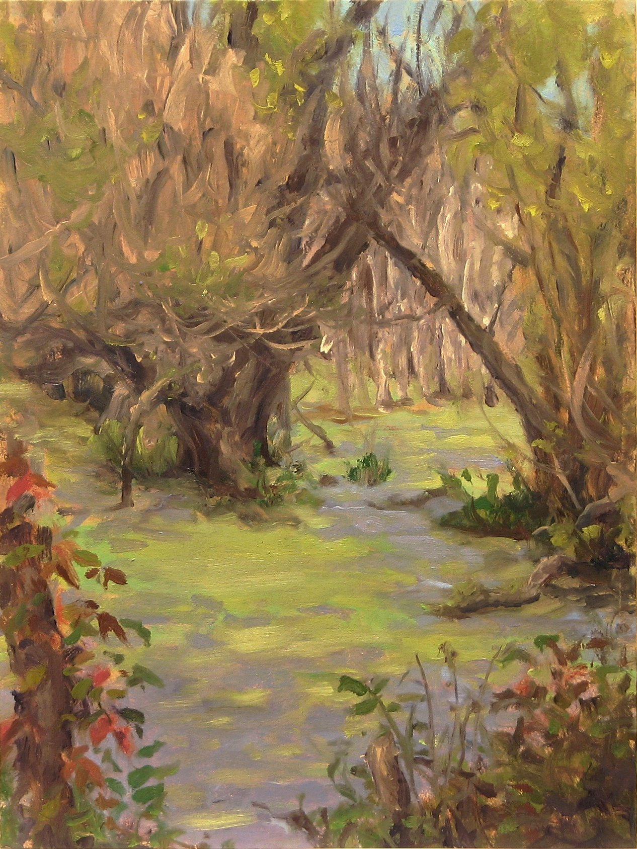 """Rick Muto oil on panel, plein air painting of marsh along Sterling Creek 8"""" x 6,"""" on view at Axom Gallery in Rochester New York"""