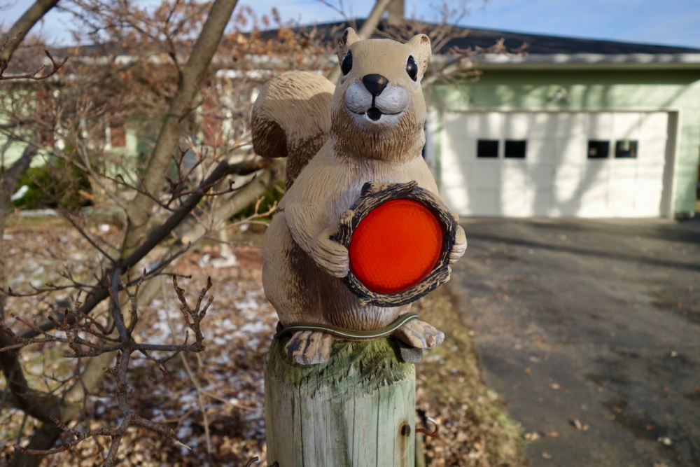 Squirrel statue with reflector