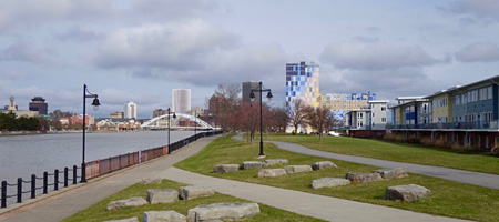 Downtown Rochester from Ford Street Bridge