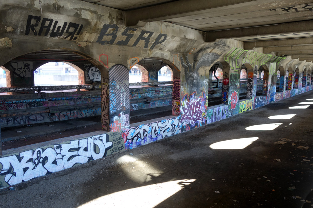 Old subway bed under Broad Street Bridge in downtown Rochester, New York