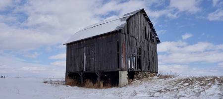 Three quarter view of old barn near Aurora, New York