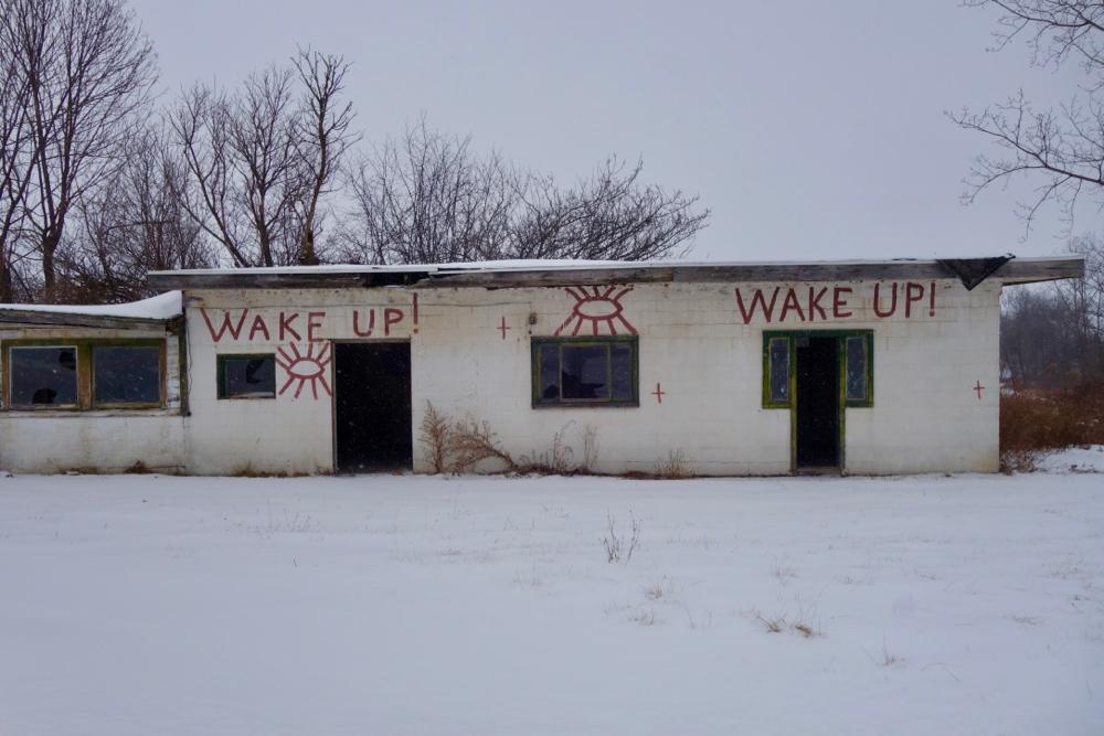 Wake Up building along Cayuga Lake