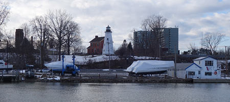 Charlotte lighthouse in winter