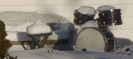 Drum set in the snow in Rochester New York