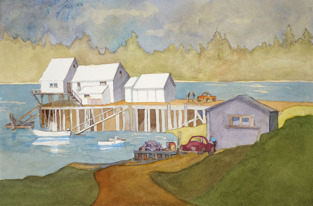 "Leo Dodd watercolor ""Town Dock Cape Cod"" in upcoming Gieisel Gallery Show in May 2018"