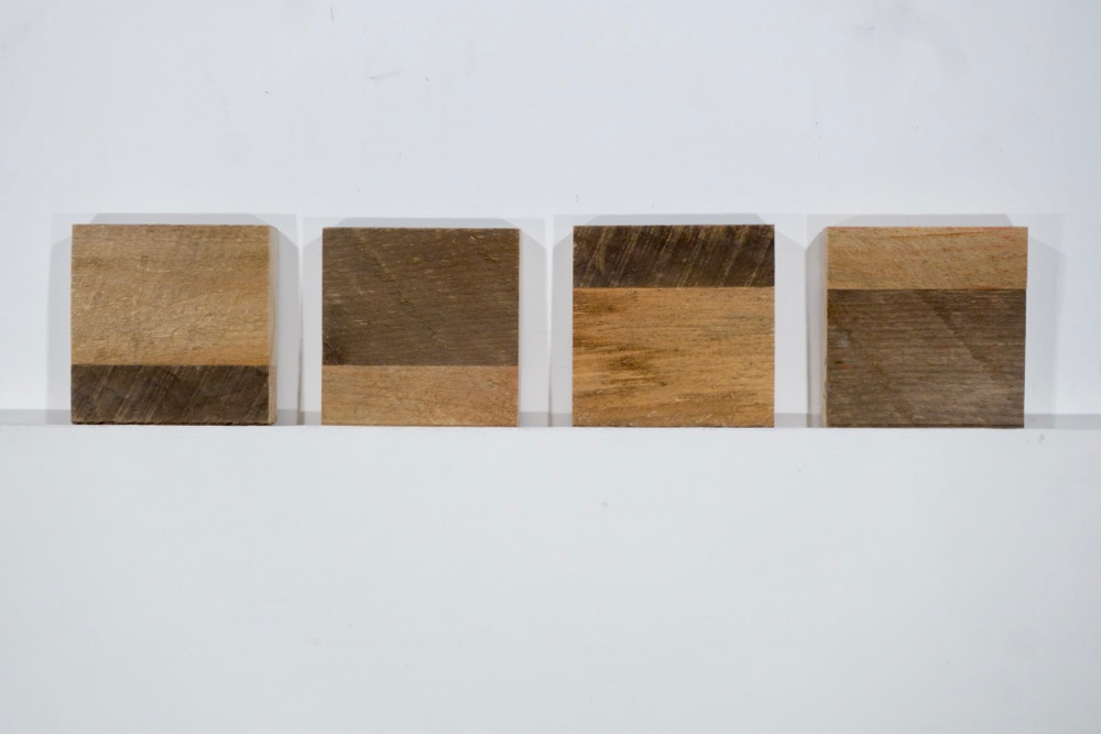 Raw Adirondack Pine pieces glued together for Rochester Contemporary's Annual 6x6 Exhibition