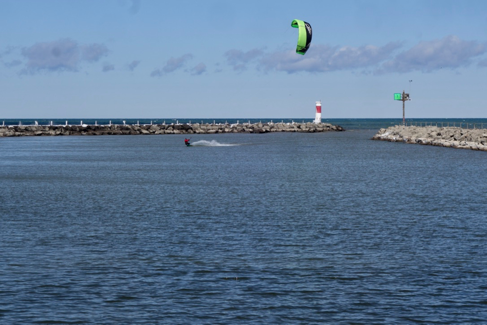 Wind surfer in channel at Sea Breeze in Rochester, New York