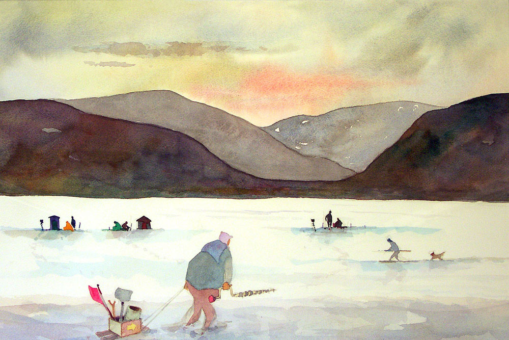 "Leo Dodd watercolor ""Ice Fishing Irondequoit Bay"" on view at Geisel Gallery in downtown Rochester, New York"
