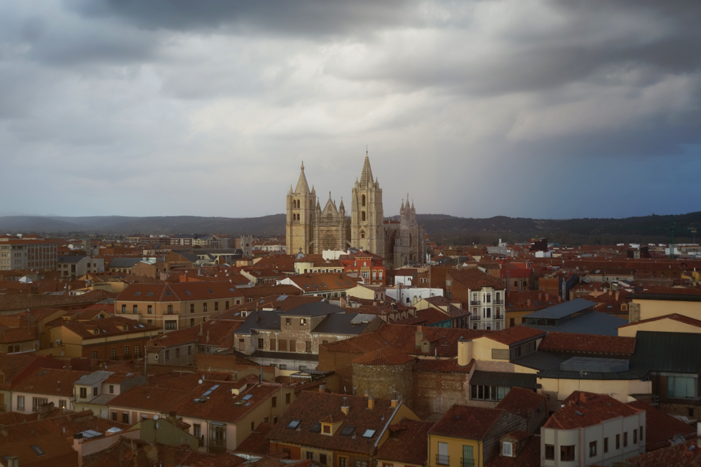 Cathedral in LEON from the top floor of our hotel