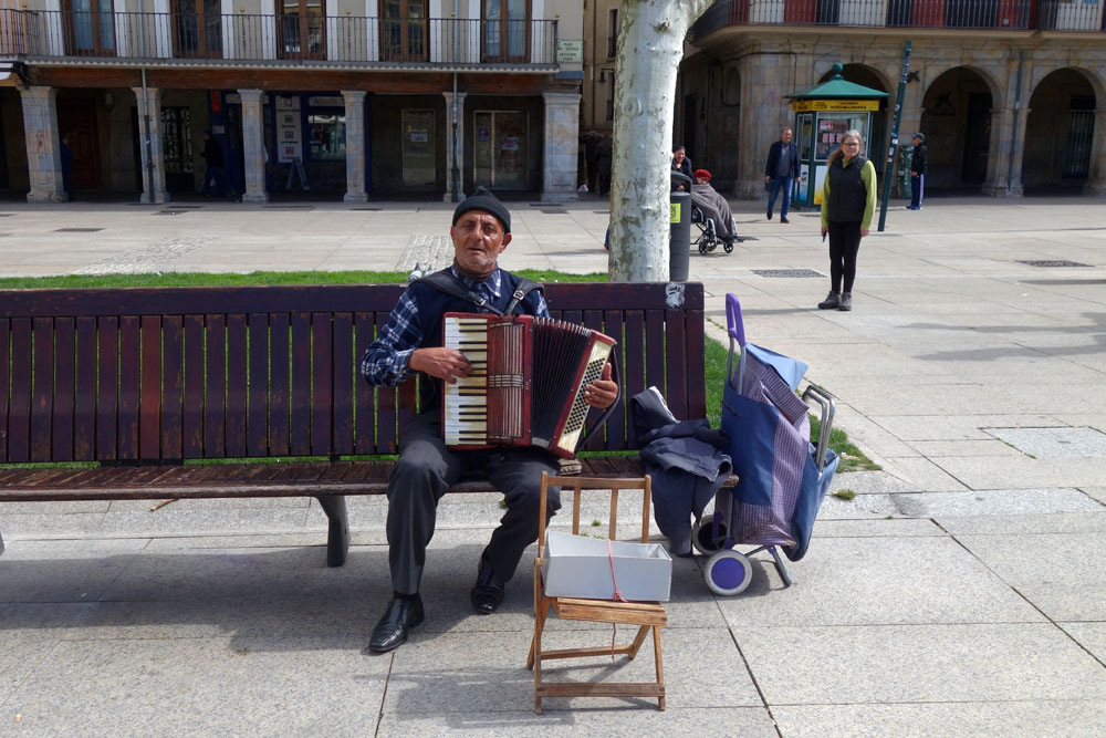 Accordion player in Plaza Mayor, Pamploma, Spain