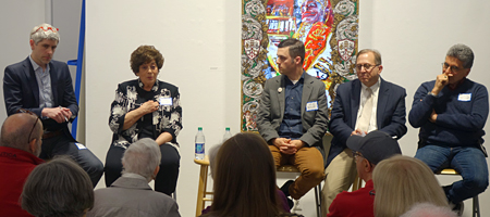 """Panelists at Rochester Contemporary talk entitled """"Think Globally. Create, Experience & Collect Locally."""""""
