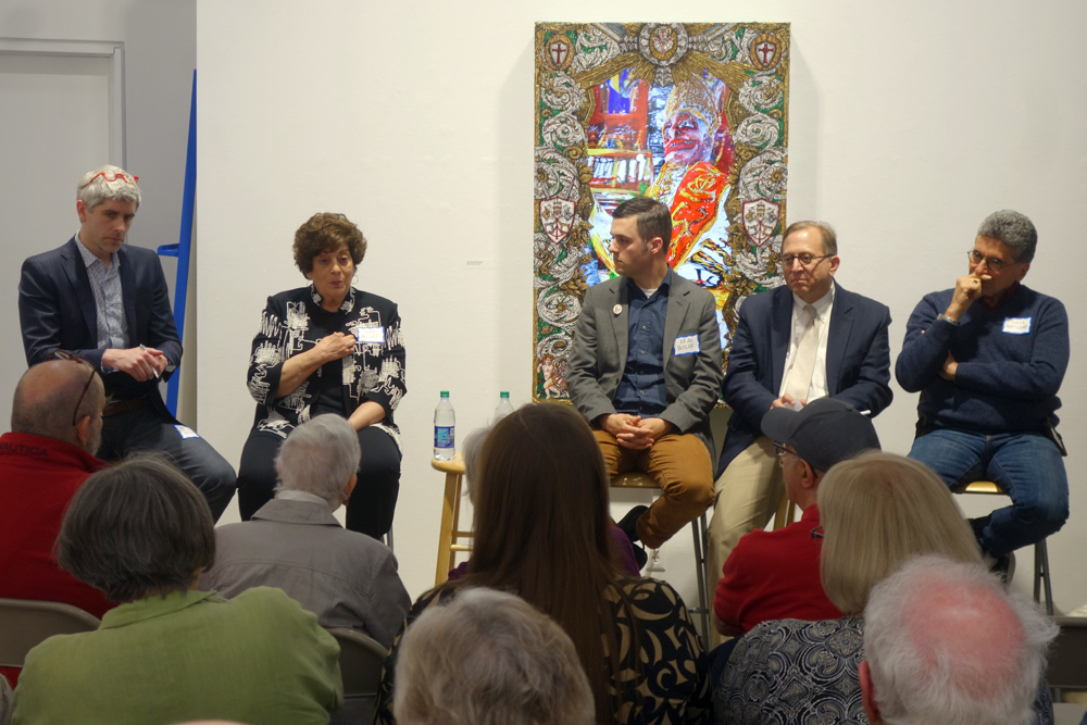 "Panelists at Rochester Contemporary talk entitled ""Think Globally. Create, Experience & Collect Locally."""