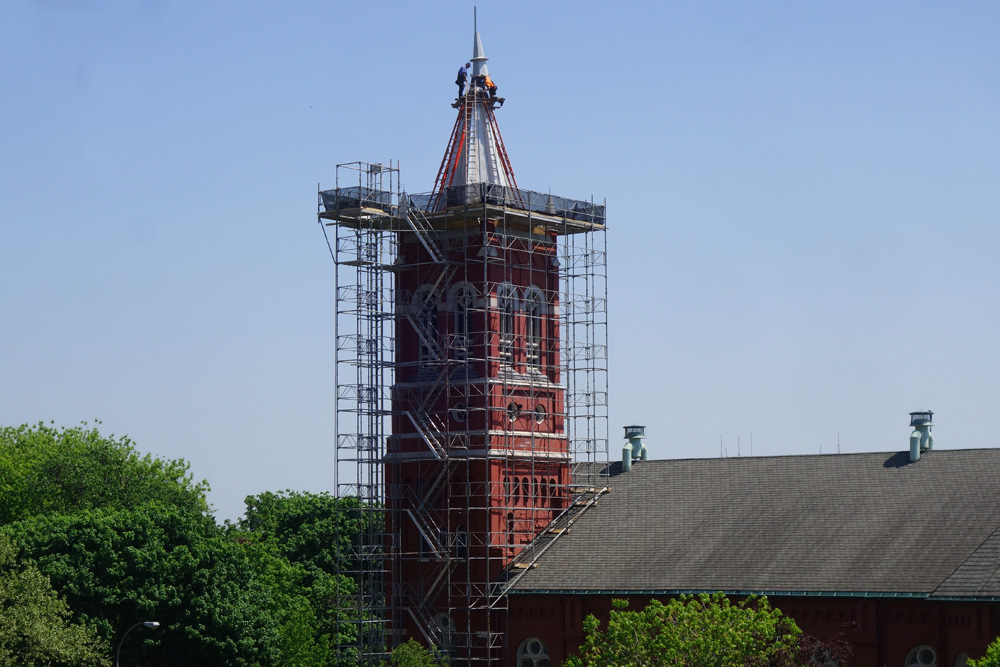 Saint Mary's tower being repaired in downtown Rochester, New York