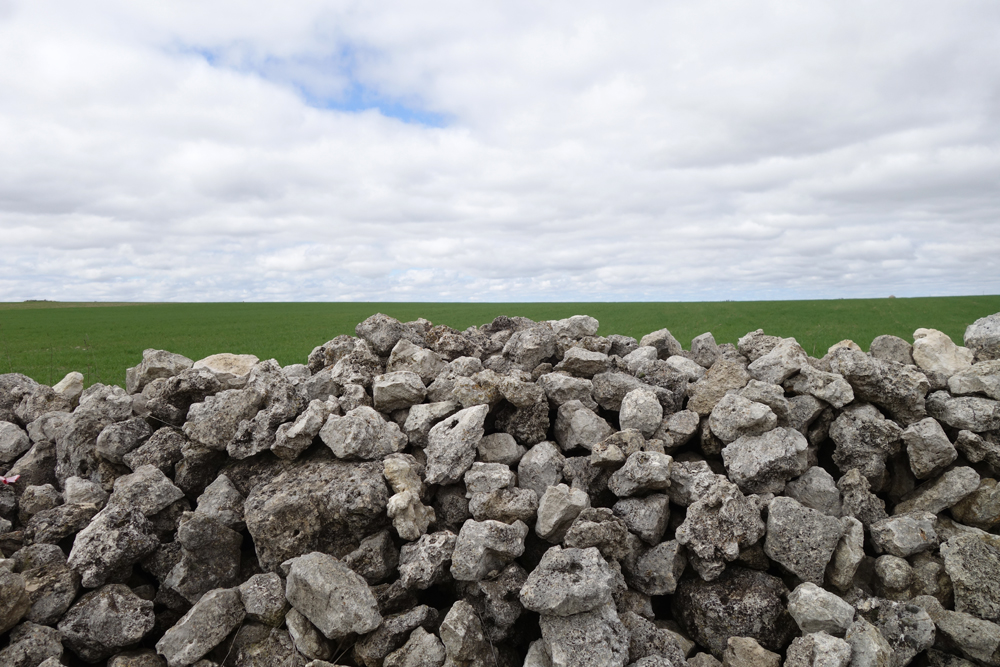 Stone fence, green pasture, cloudy sky