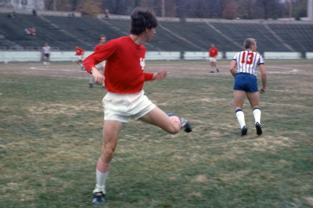 Paul Dodd playing soccer for Indiana University verses Saint Louis in 1968