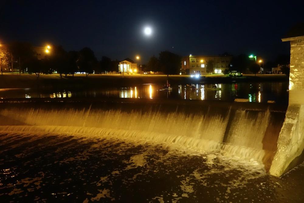 Oatka Creek falls at night in Leroy, New York
