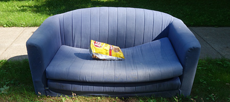 Bag of potato chips on blue sofa by curb along Culver Road in Rochester, New York