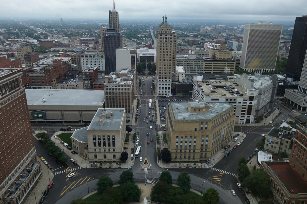 View of Buffalo skyline from top floor of City Hall