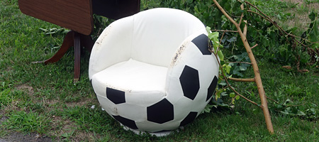 SoccerB ball chair out by the curb, Rochester, New York