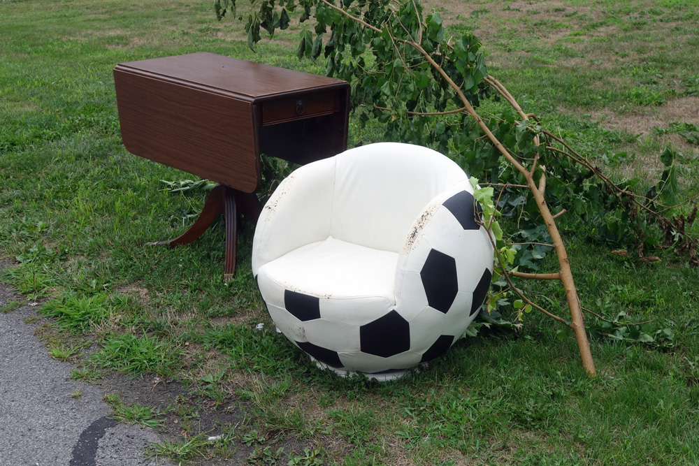 Soccer ball chair out by the curb, Rochester, New York