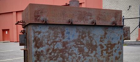 Steel box near river on Plymouth Avenue