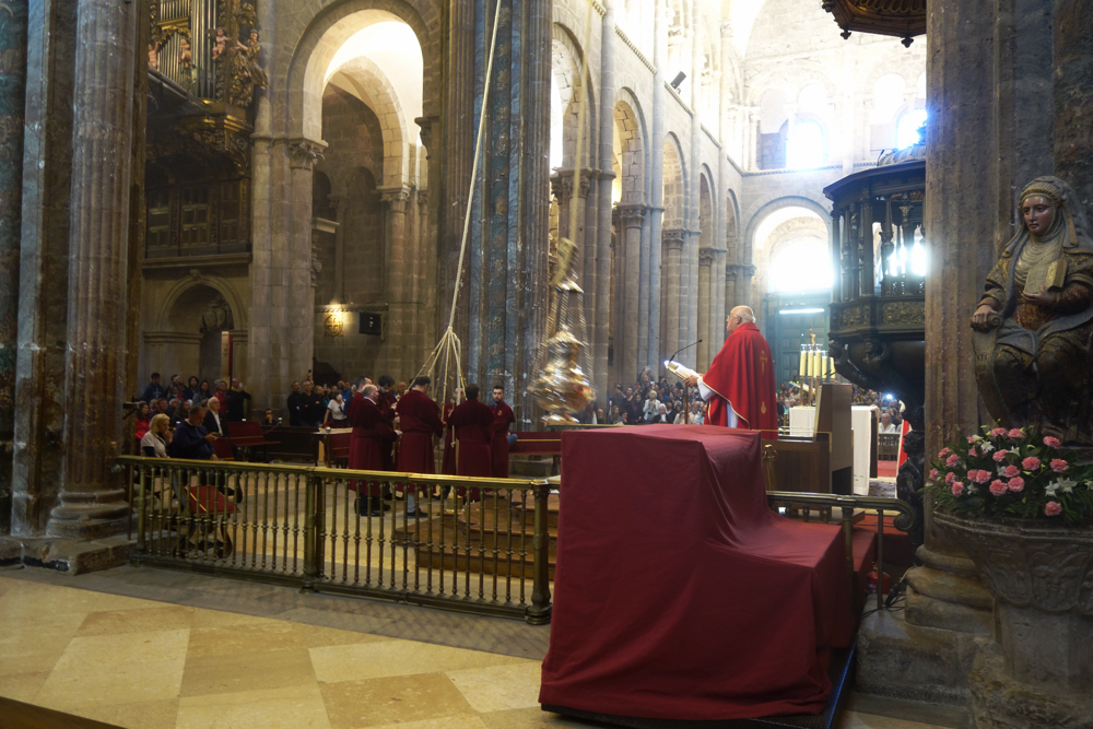 Botafumero being swung in the Cathedral at Santiago de Compostela