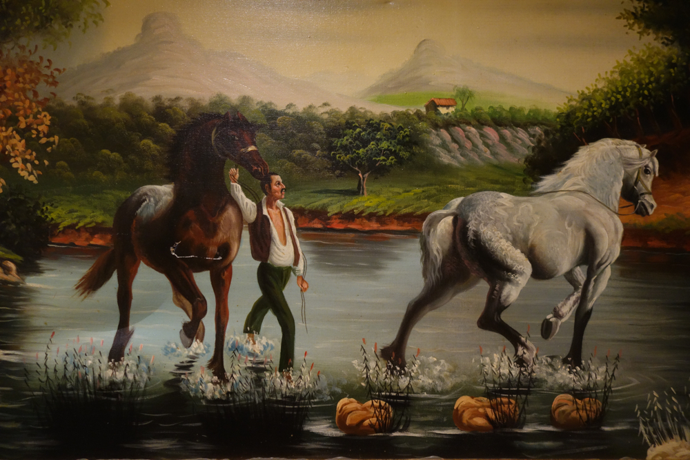 Spanish Horseman painting at Hotel Refugio in Rabanal Del Camino