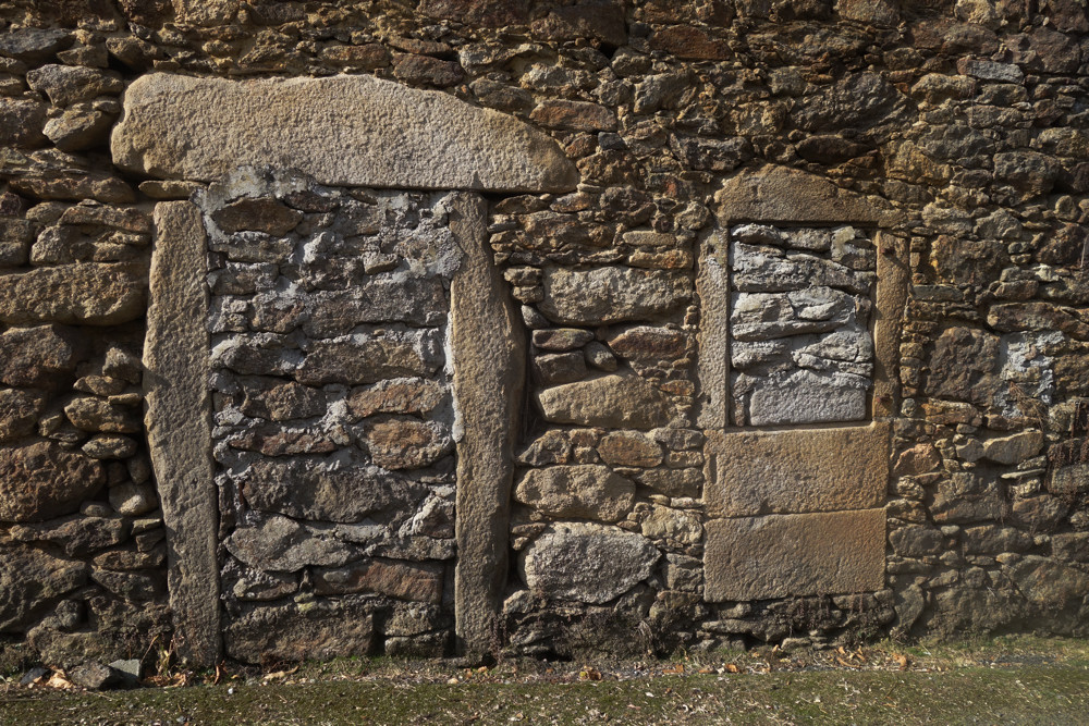 Old stone window and door along the Camino de Finisterre
