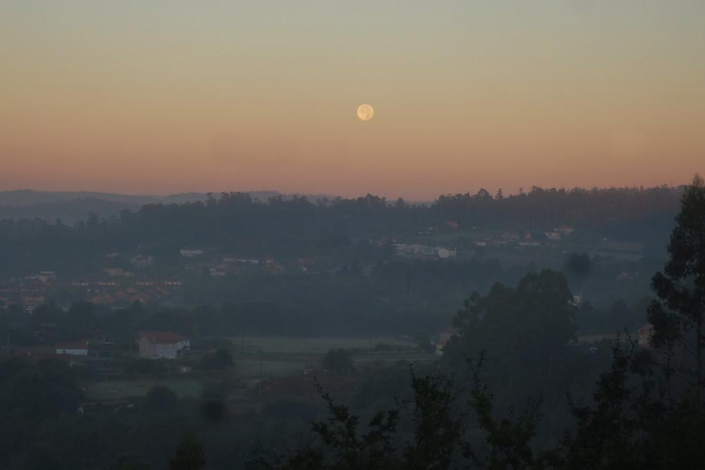 Sunrise over Santiago de Compostela on the Camino de Santiago