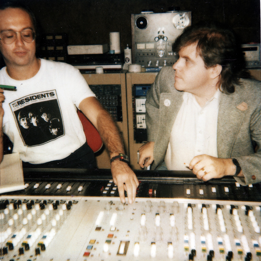 Eric DuFore and Dwight Glodell at mixing board in PCI Studios in Rochester, New York
