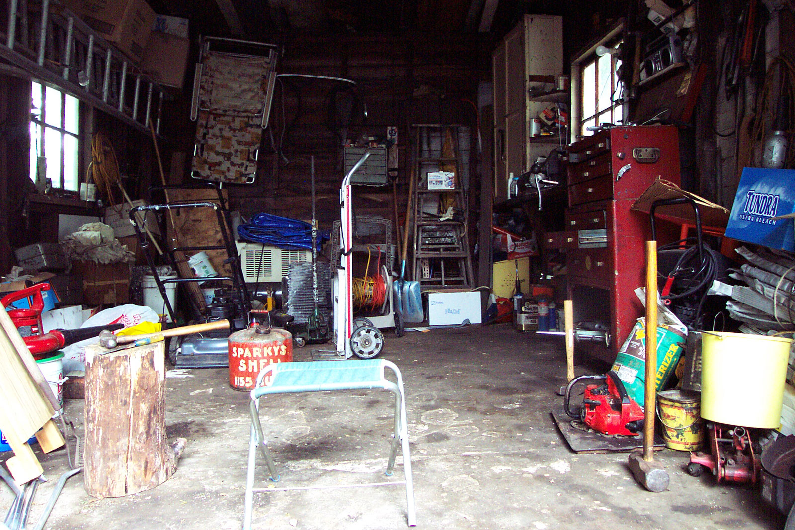 Inside Sparky's garage on Hall Street in Rochester, New York