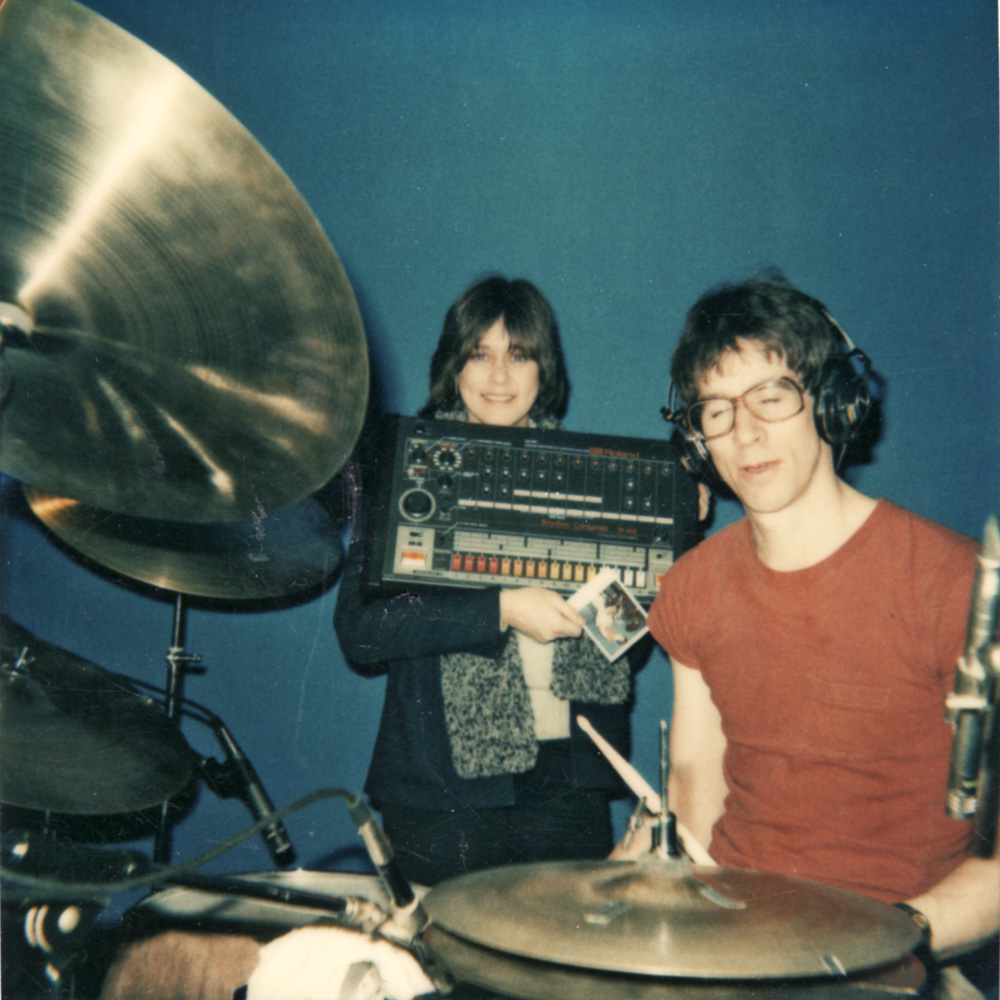 Peggi Fournier taunting Paul Dodd with Linn Drum Machine during recording sessions for Personal Effects debut EP at PCI Studios.