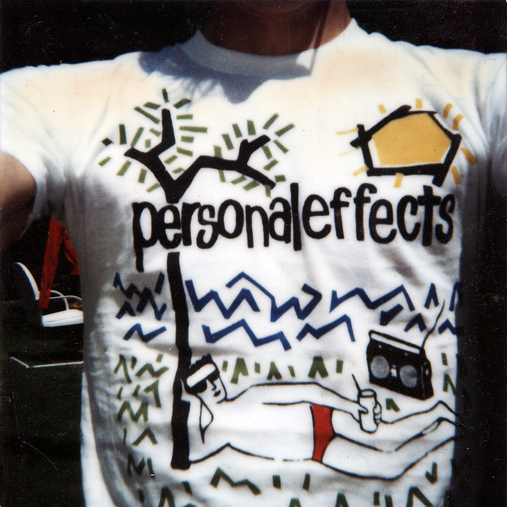 Paul Dodd modeling handmade Personal Effects t-shirts.