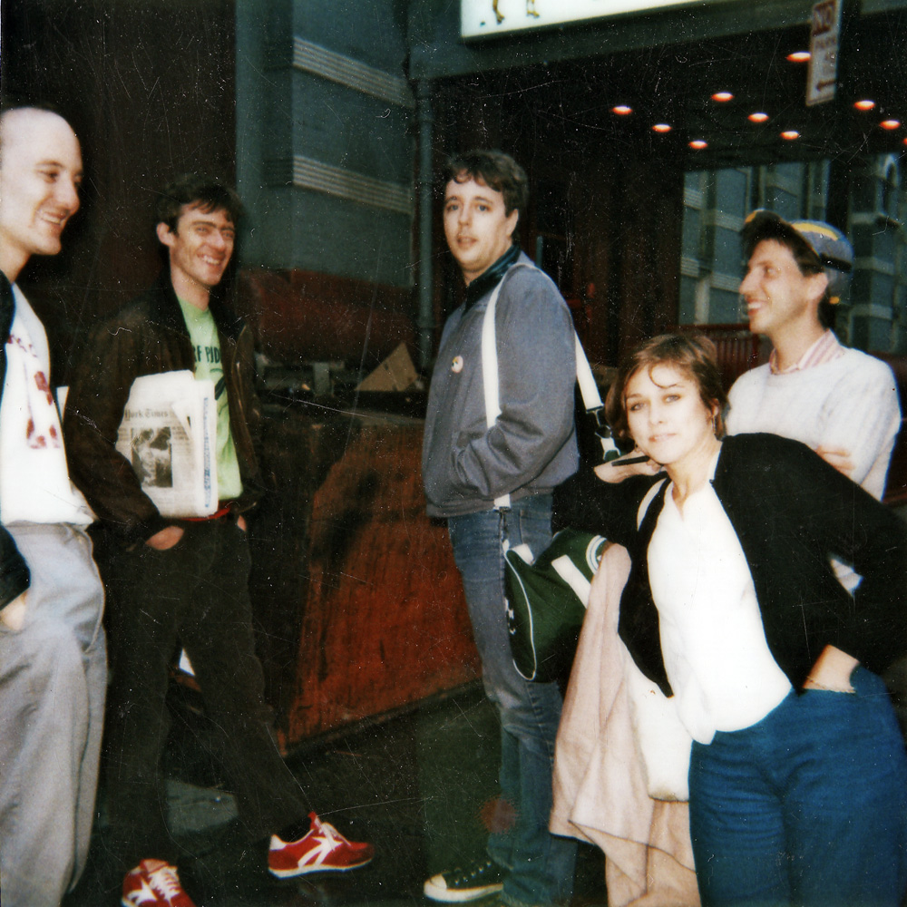 Label mates, Swollen Monkeys, with Peggi Fournier, Bob Martin and Peggi Fournier in front of Danceteria before Personal Effects Record Release Party.