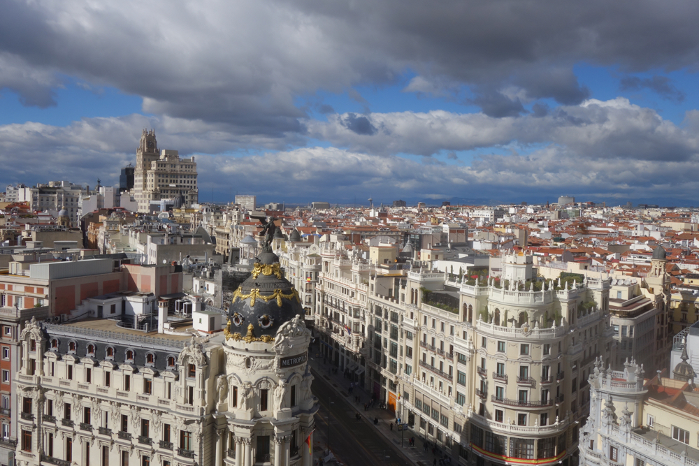 View of Madrid from the top of Circulo de Bellas Artes