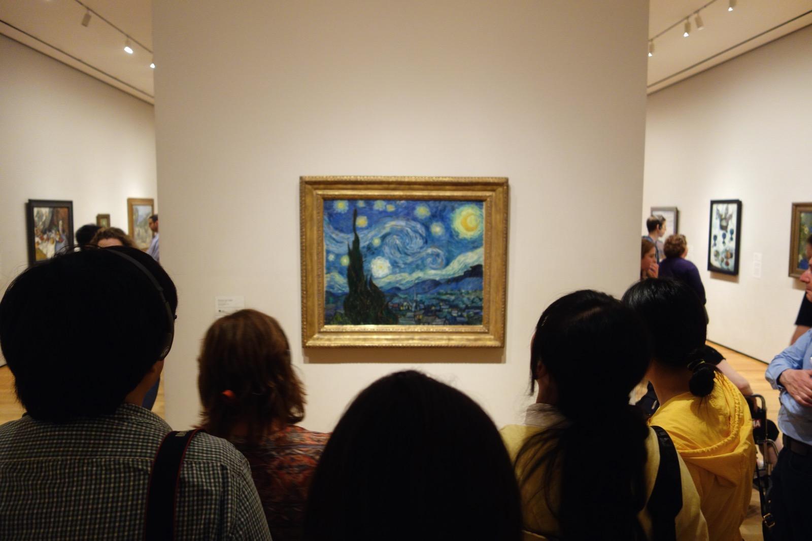 "Crowd around Van Gogh's ""Starry Night"" at MoMA"