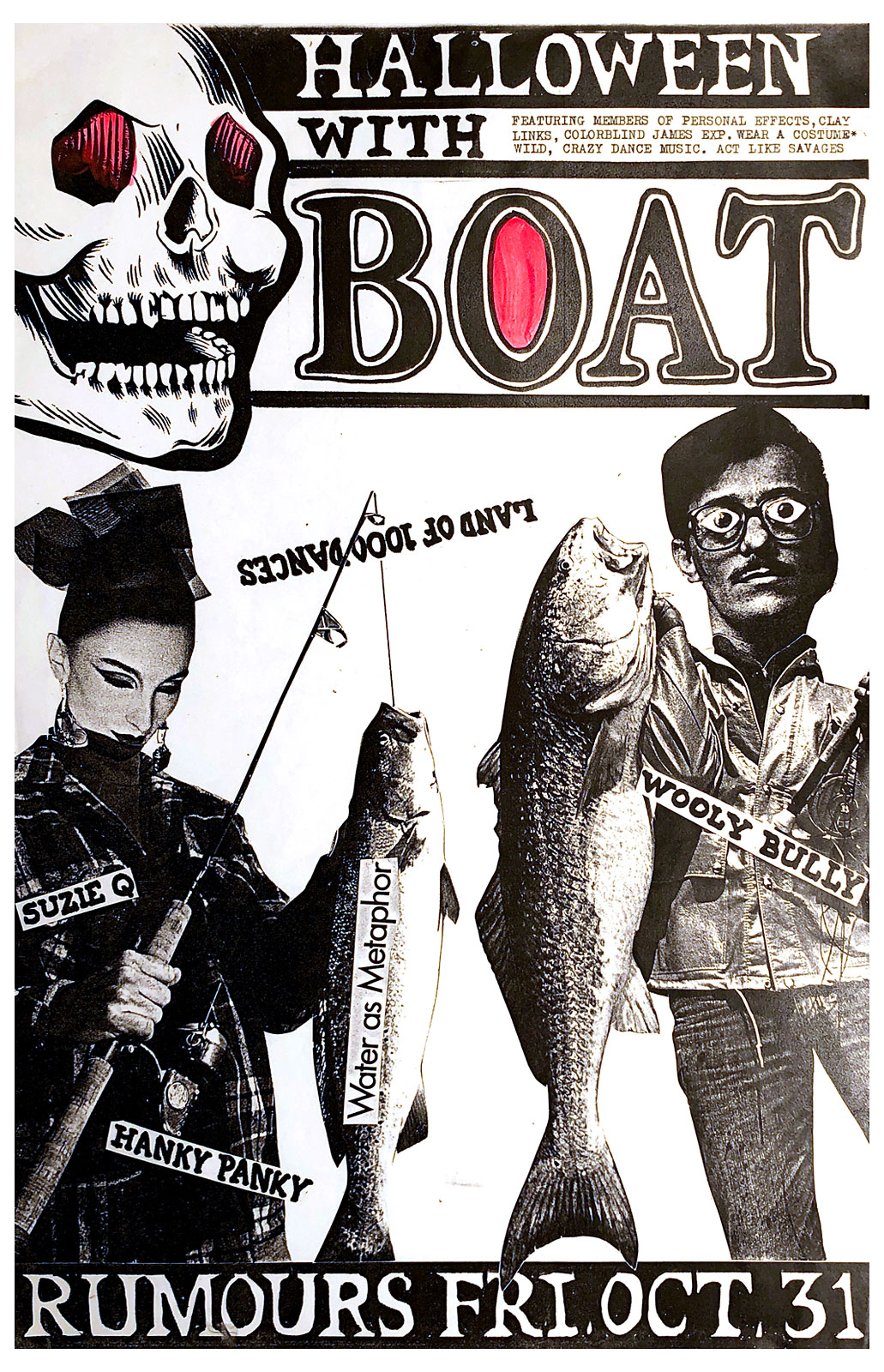 Poster for Boat, with three members of Personal Effects plus Kevin Vicalvi on bass and Phil Marshall from Colorblind James on guitar, performing at Rumours, formerly Snakesister's and now Lux, on Halloween 10.31.1986. The band played all cover songs this night.