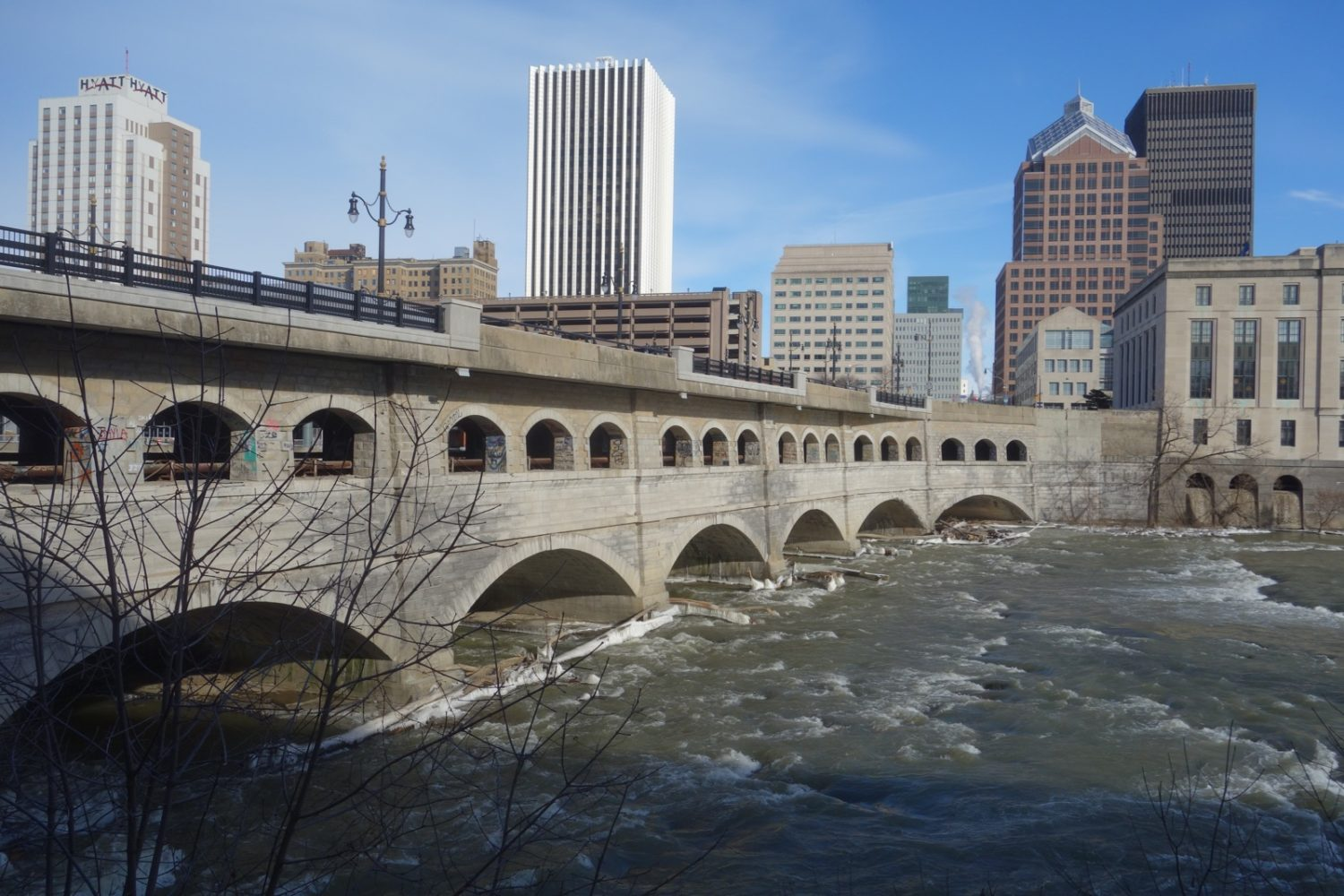 Broad Street Bridge from the west side of the Genesee River in Rochester, New York
