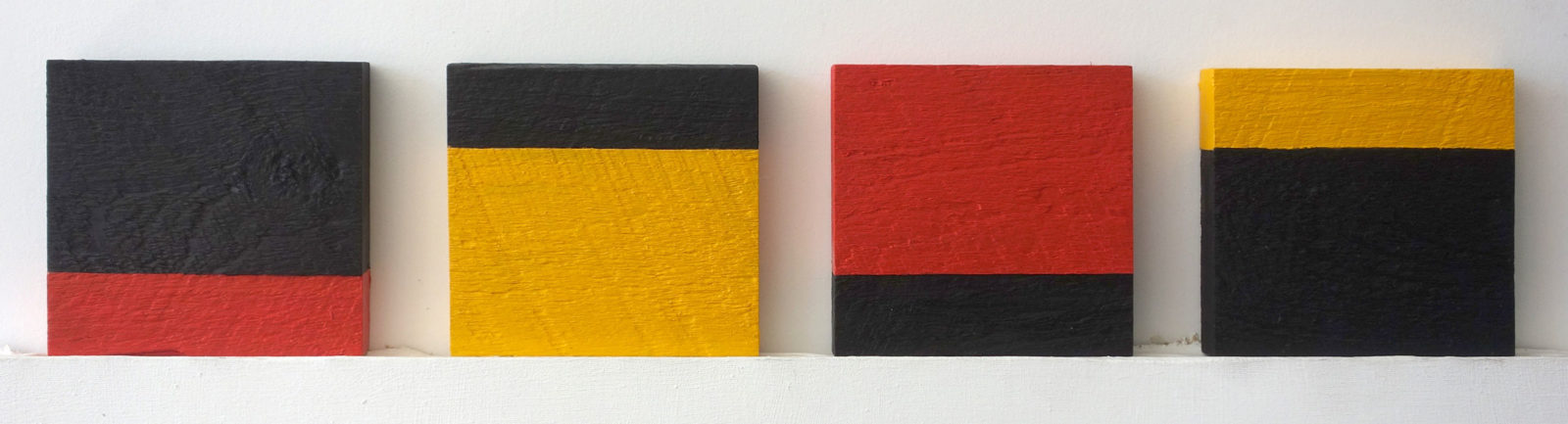 "Four ""Untitled"" entries to Rochester Contemporary 6x6 Show, oil on wood, Paul Dodd 2015"