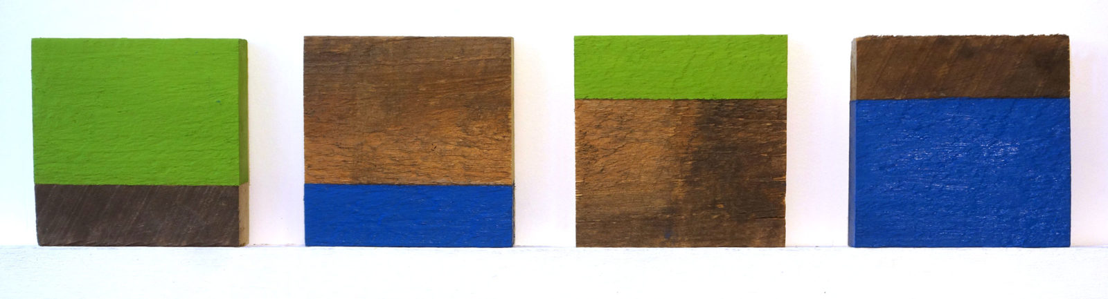 "Four ""Untitled"" entries to Rochester Contemporary 6x6 Show, oil on wood, Paul Dodd 2016"