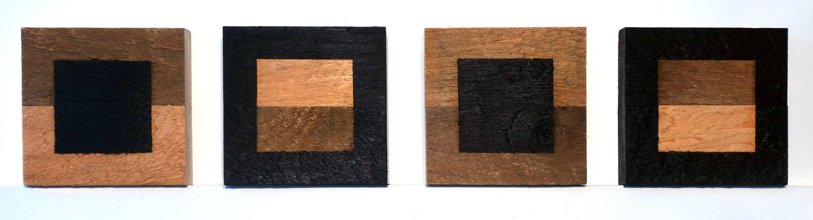 "Four ""Untitled"" entries to Rochester Contemporary 6x6 Show, oil on wood, Paul Dodd 2017"