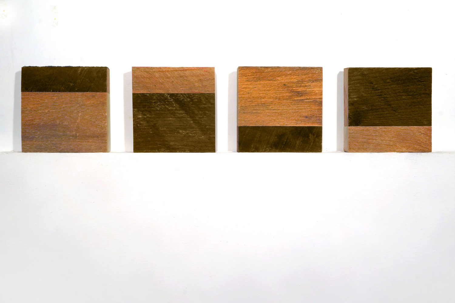 "Four ""Untitled"" entries to Rochester Contemporary 6x6 Show, oil on wood, Paul Dodd 2019"
