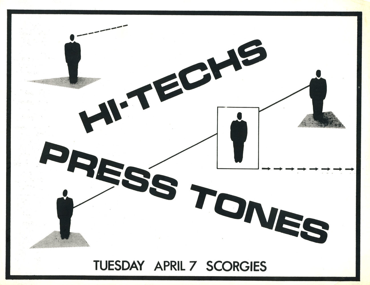 Poster for HI-Techs and Prestones at Scorgies in Rochester, New York on 04.07.1981