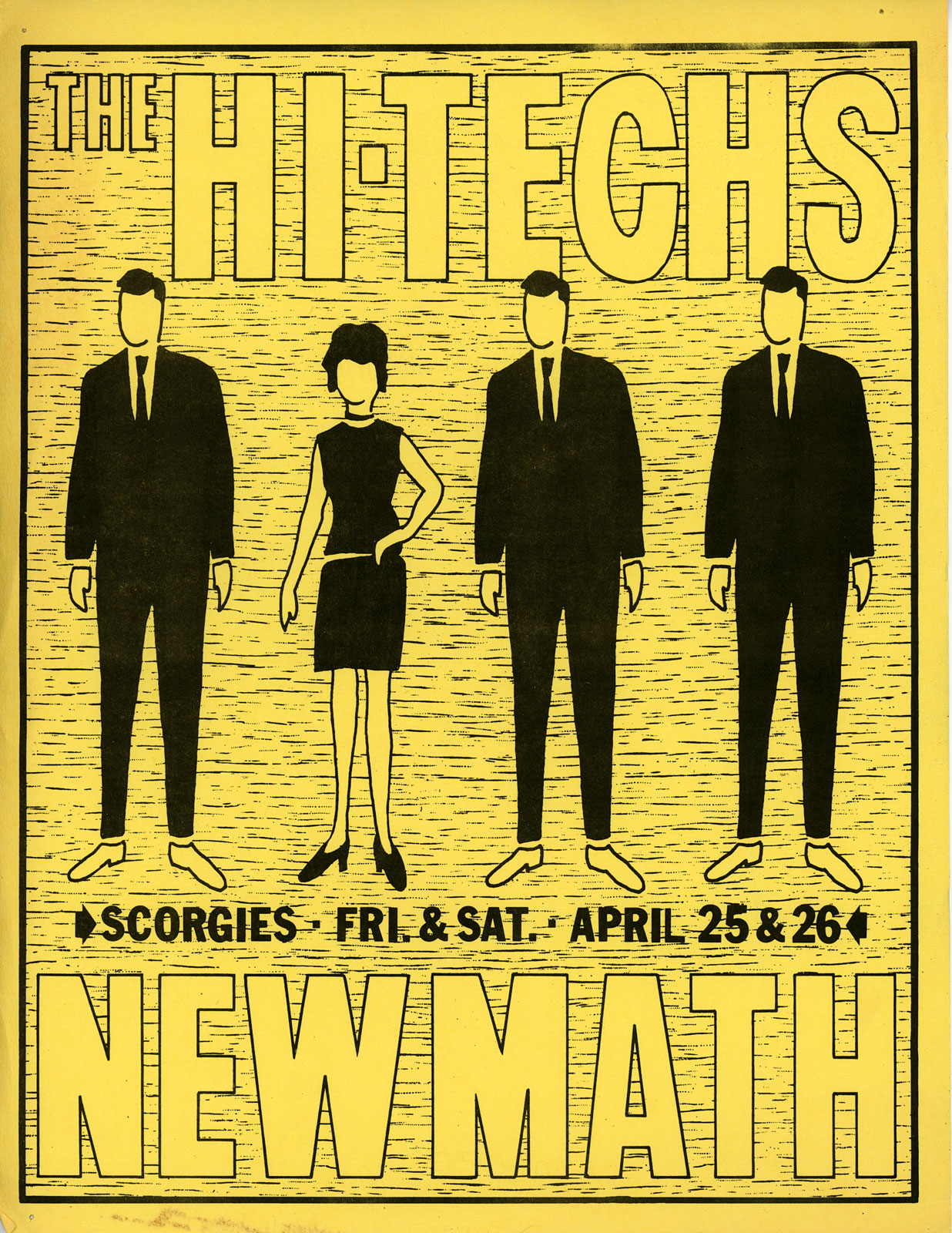 Poster for Hi-Techs and New Math at Scorgies in Rochester, New York on 04.25.1980 and 04.26.1980.