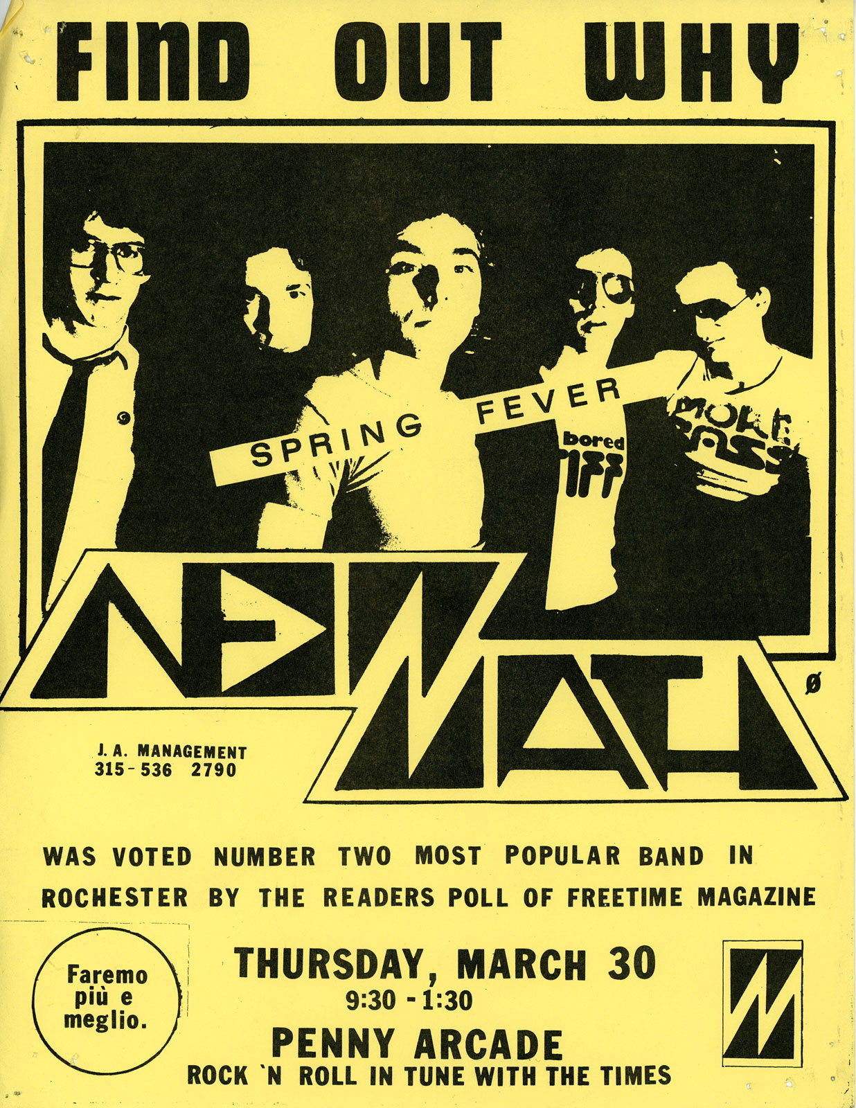 Poster for New Math at Penny Arcade in Rochester, New York 03.30.1978. Poster shows Paul Dodd, Dale Mincey, Kevin Patrick, Robert Slide and Gary Trainer. New Math logo by Tim Dodd. Paul Dodd - drums, Gary Trainer - guitar, Kevin Patrick - vocals, Dale Mincey - guitar, Robert Slide - bass. Poster by Paul Dodd.