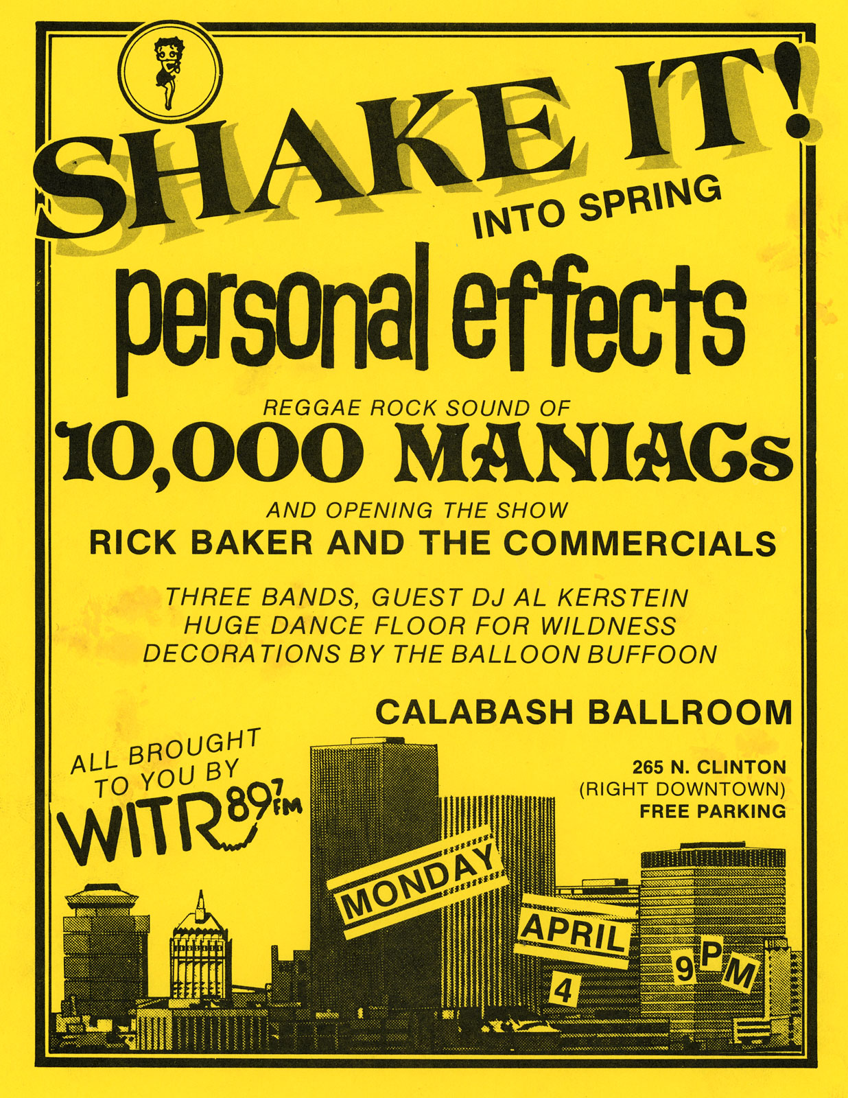Poster for Personal Effects. 10,000 Maniacs and Rick Baker at Calabash in Rochester, New York 04.04.1983
